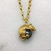 Tiny Gold Mouse & Hematite Ball Necklace
