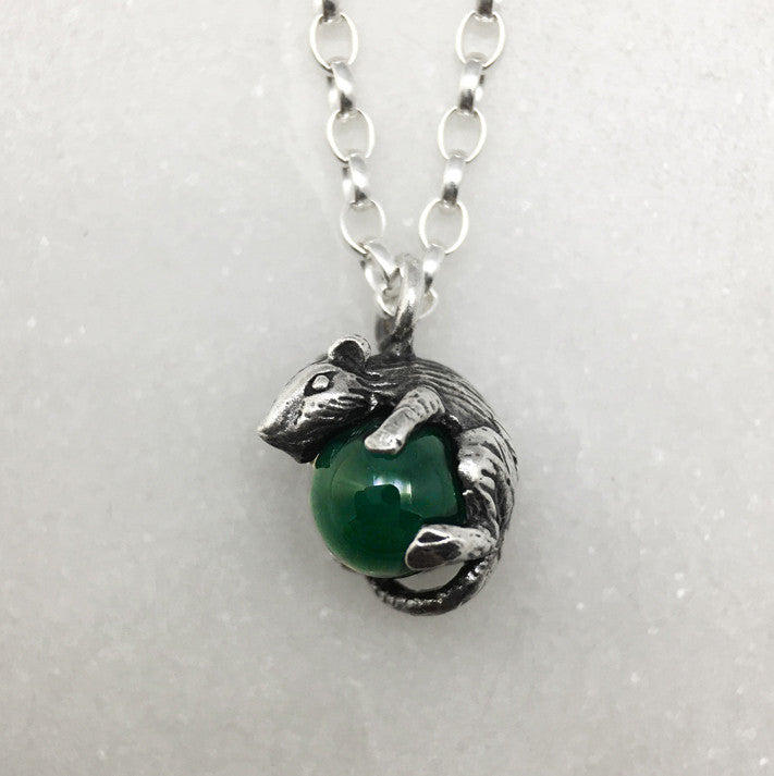 Tiny Silver Mouse & Green Ball Necklace
