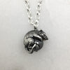 Tiny Silver Mouse & Hematite Ball Necklace
