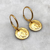 Ancient Octopus Coin Gold Hoop Earrings