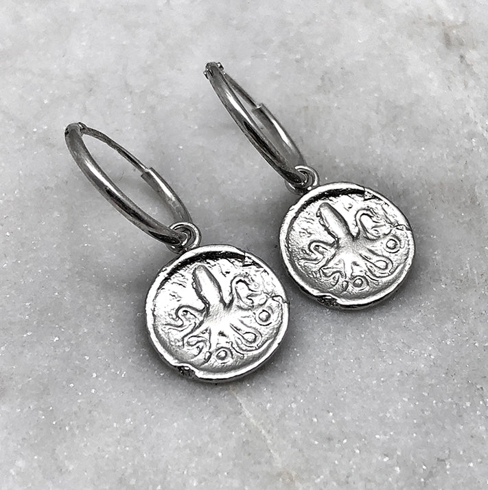 Ancient Octopus Coin Silver Hoop Earrings
