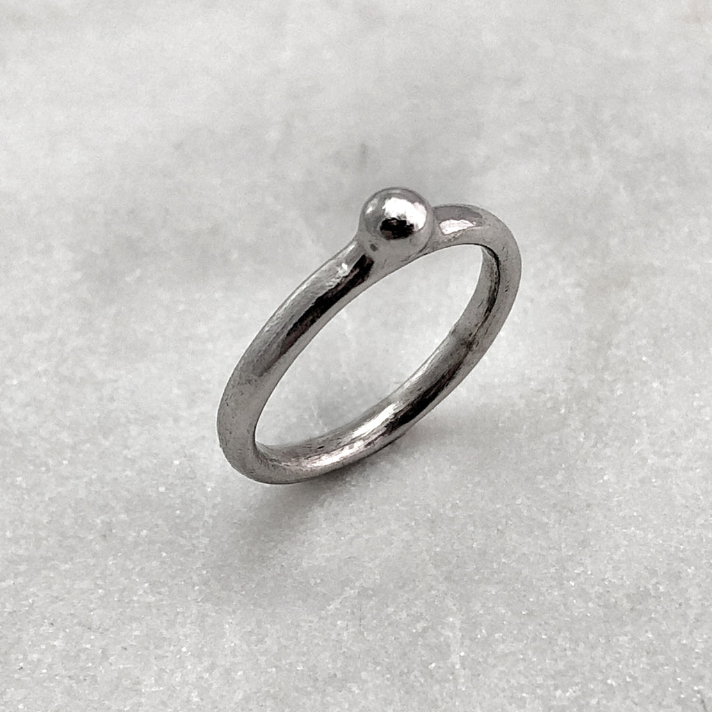 One Ball Silver Ring