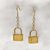 Tiny Gold Padlock Drop Earrings