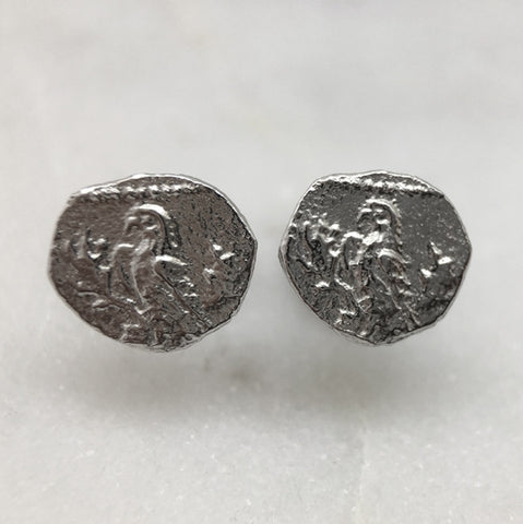 Silver Parrot Coin Earrings