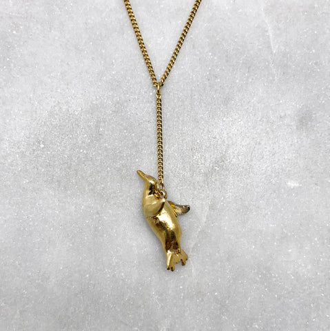 Flying Gold Penguin Necklace
