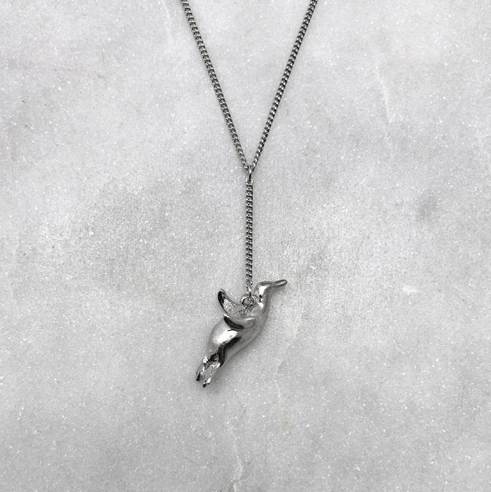 Flying Silver Penguin Necklace