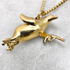 Gold Gun Toting Penguin Necklace