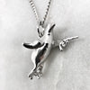 Silver Gun Toting Penguin Necklace