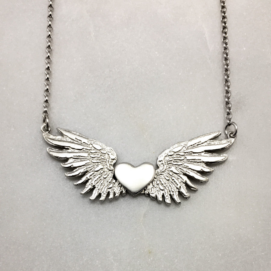 Tiny Wings & Silver Heart Necklace