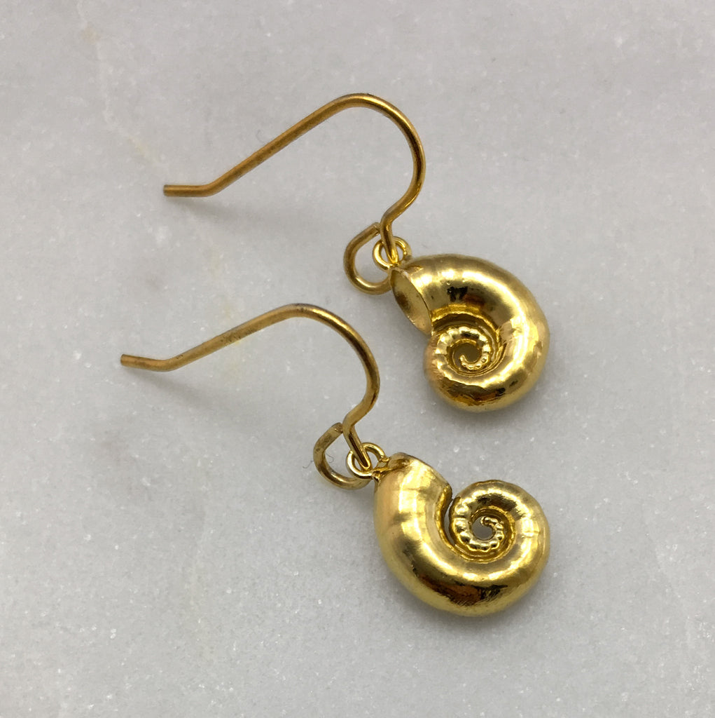 Tiny Gold Spirula Shell Earrings