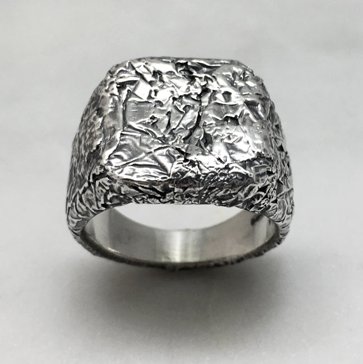 Crush Square Signet Oxidised Silver Ring