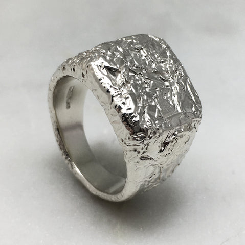 Crush Square Signet Silver Ring