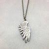 Tiny Single Silver Wing Necklace