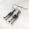 Silver Skeleton Hook Earrings