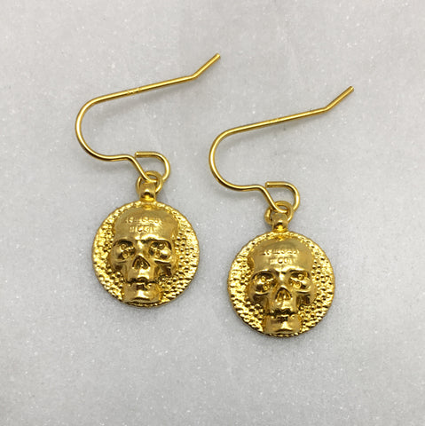 Memento Mori Gold Skull Disc Earrings