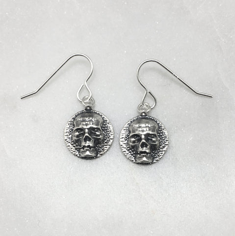 Memento Mori Silver Skull Disc Earrings