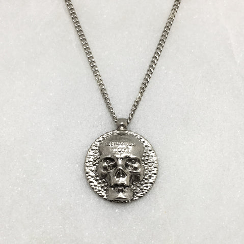 Memento Mori Silver Skull Disc Necklace