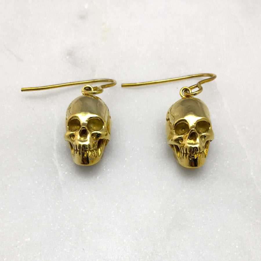 Gold Skull Hook Earrings