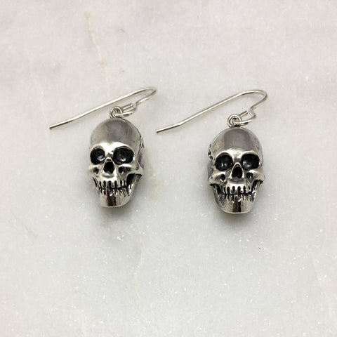 Silver Skull Hook Earrings