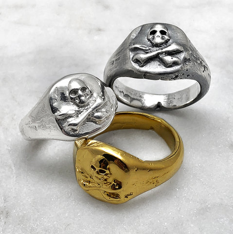 Melted Skull & Crossbones Signet Ring