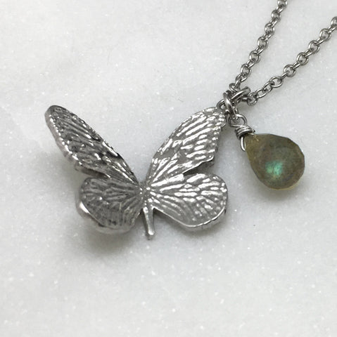 Small Silver & Labradorite Butterfly Necklace