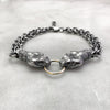 Double Ruby Eyed Rattlesnake Head Silver Bracelet