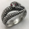 Silver Snake Ring With Ruby Eyes