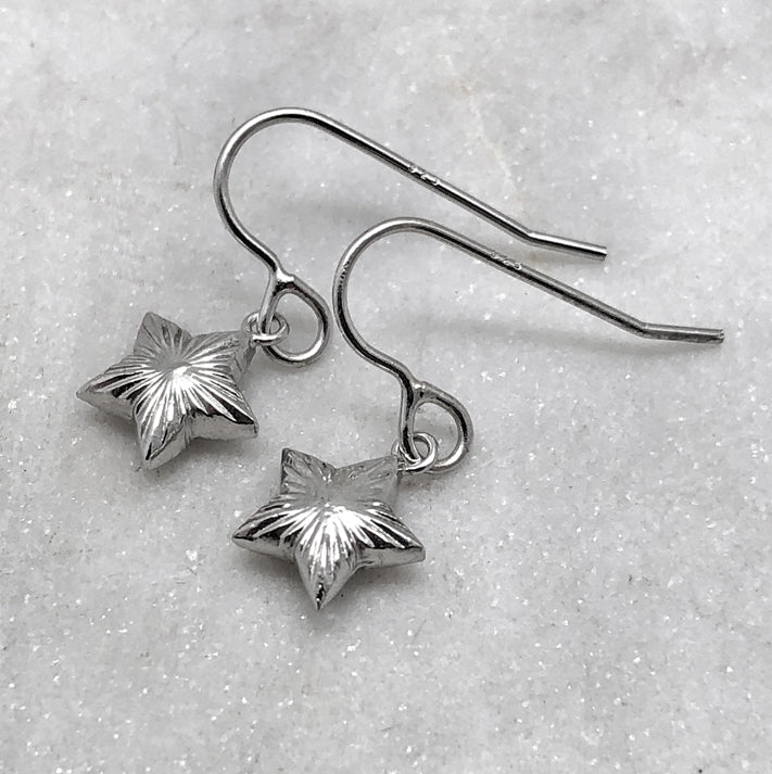 Silver Engraved Star Earrings