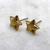 Gold Engraved Star Studs