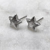 Silver Engraved Star Studs