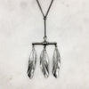 Three Silver Feather Necklace