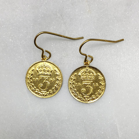Gold Threepence Earrings
