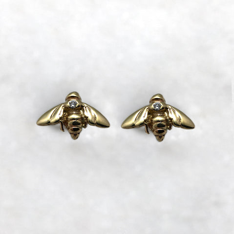 Tiny 9ct Gold Bee & Diamond Studs