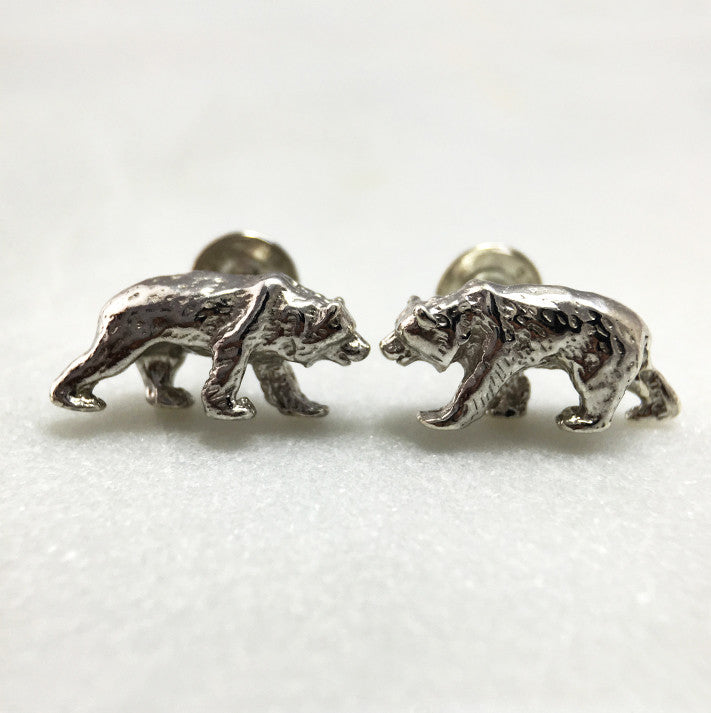 Silver Grizzly Bear Studs