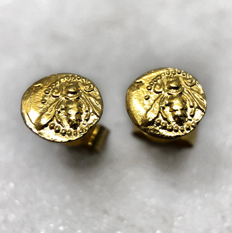 Tiny Gold Bee Coin Earrings
