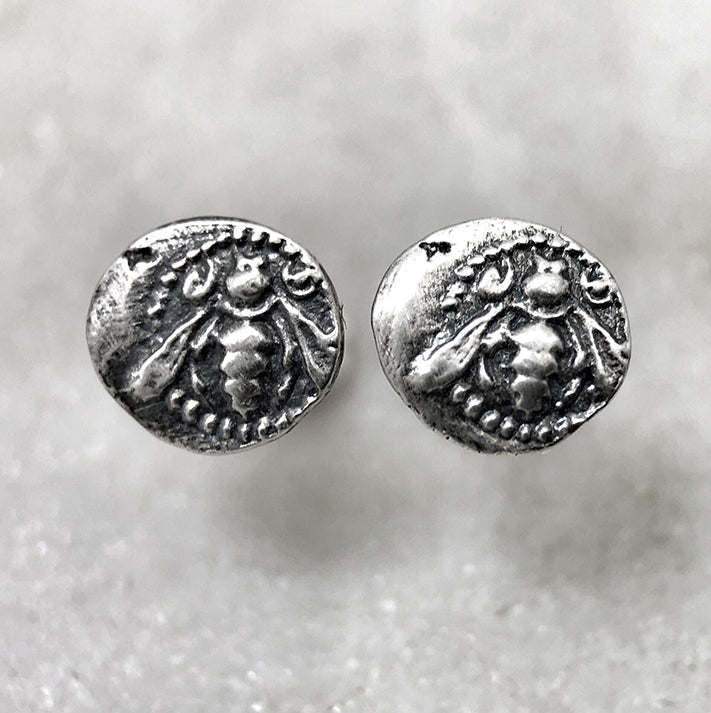 Tiny Silver Bee Coin Earrings