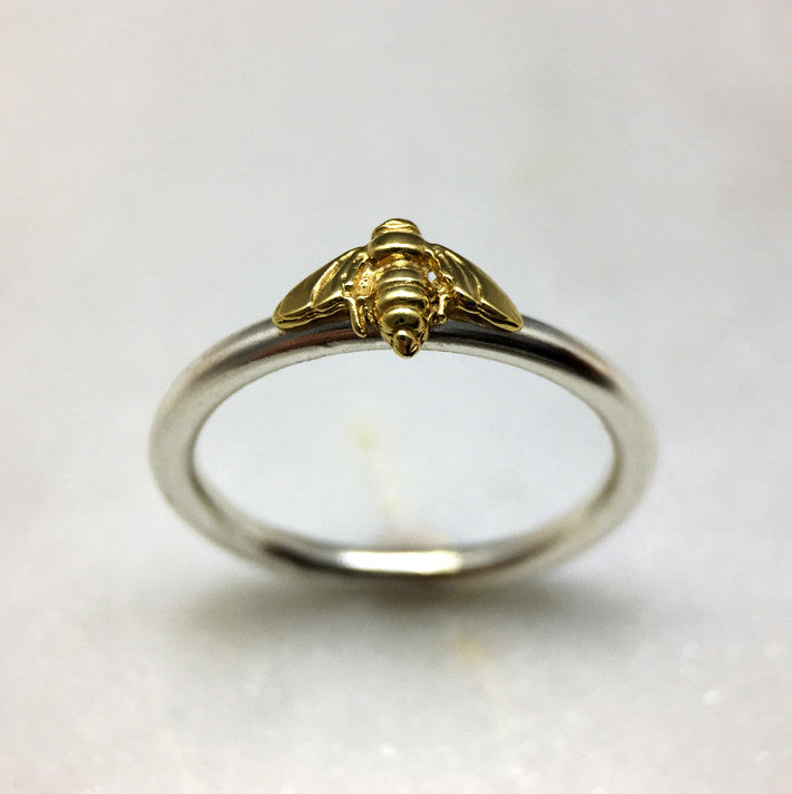 Tiny Gold Bee Ring - 2mm Round Band