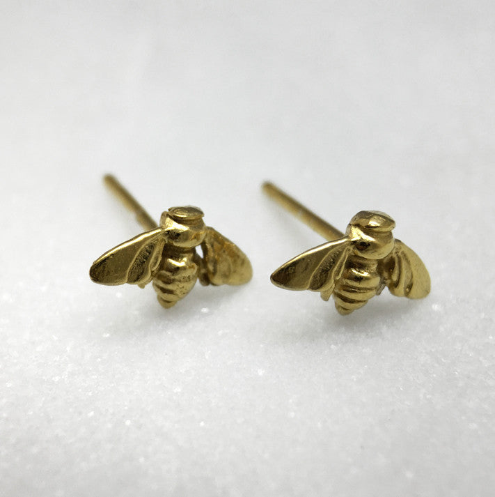 Tiny Gold Bee Studs
