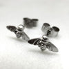 Tiny Silver Bee Studs