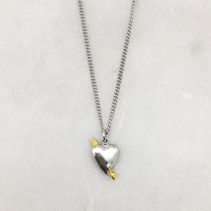 Silver Heart & Gold Arrow Necklace