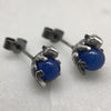 Silver Mystic Mouse &  Blue Ball Studs