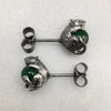 Silver Mystic Mouse & Green Ball Studs