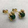 Gold Mystic Mouse & Green Ball Studs