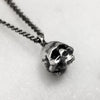 Tiny Oxidised Silver Skull Necklace