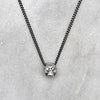 Tiny Silver Diamond Eyed Skull Necklace