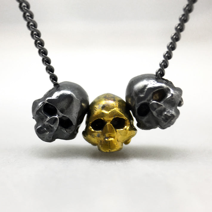 Tiny Skull Trio Necklace