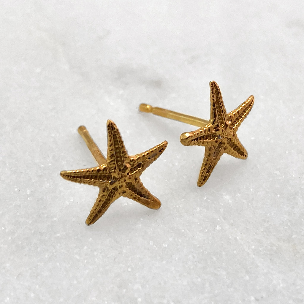 Tiny Gold Starfish Stud Earrings