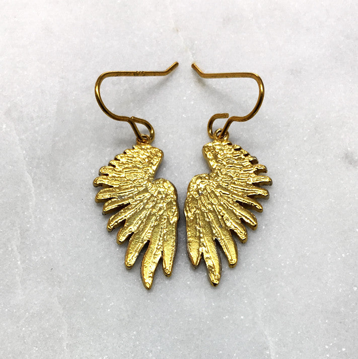Tiny Gold Wing Earrings