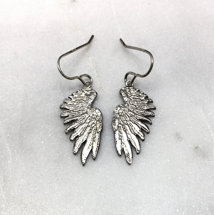 Tiny Silver Wing Earrings
