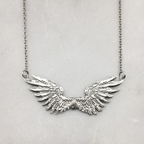 Tiny Silver Wings & Diamond Necklace